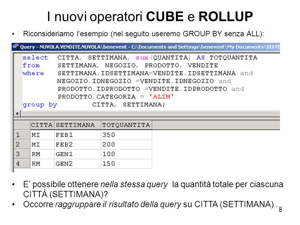 9 Il nuovo operatore CUBE Usando l'operatore CUBE nel GROUP BY GROUP BY...