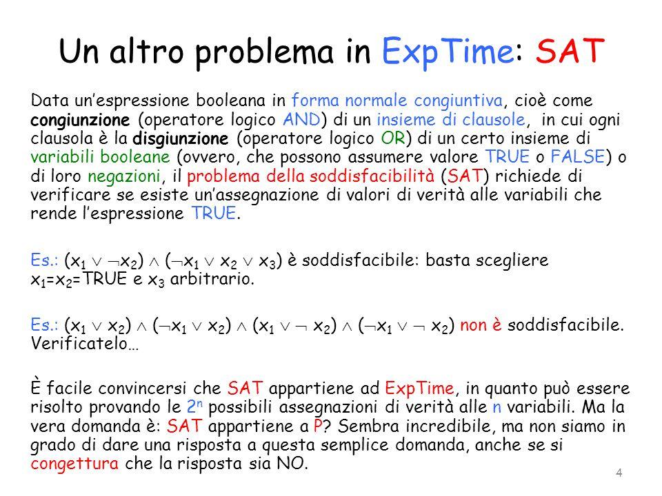 Un altro problema in ExpTime: SAT Data un'espressione booleana in forma normale congiuntiva, cioè come congiunzione (operatore logico AND) di un insie