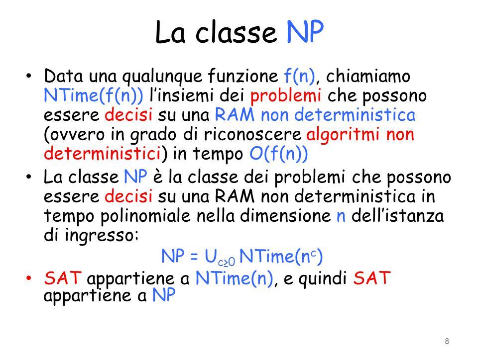 La classe NP Data una qualunque funzione f(n), chiamiamo NTime(f(n)) l'insiemi dei problemi che possono essere decisi su una RAM non deterministica (o