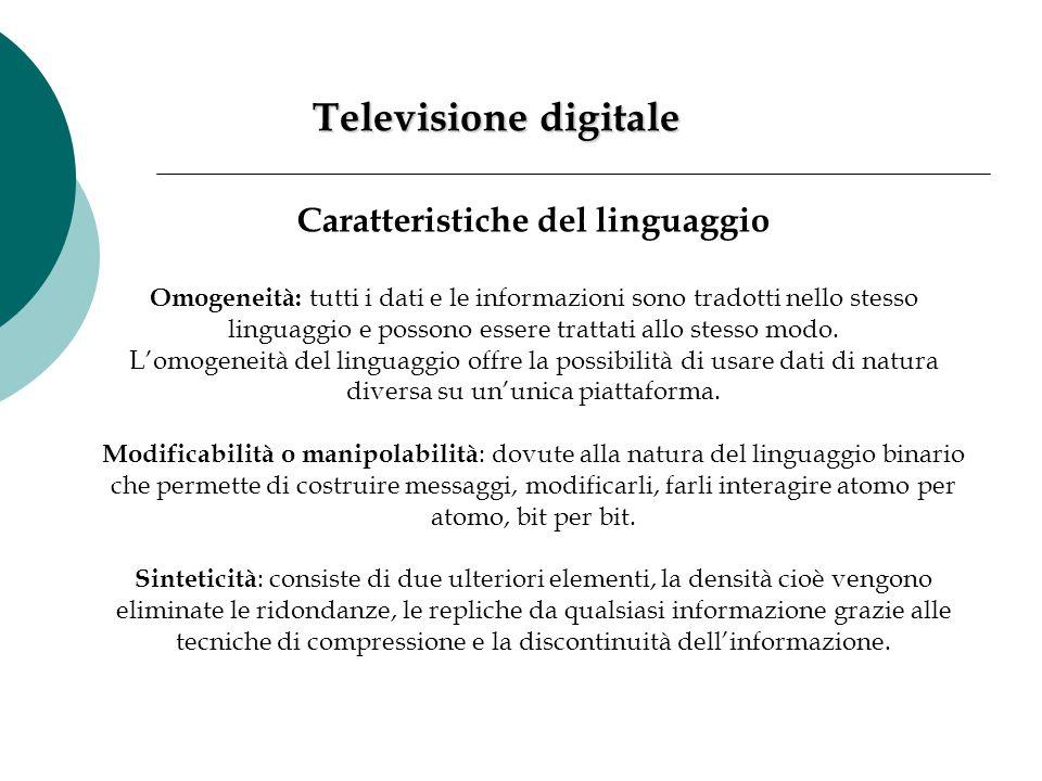 Televisione digitale Caratteristiche del linguaggio Omogeneità: tutti i dati e le informazioni sono tradotti nello stesso linguaggio e possono essere