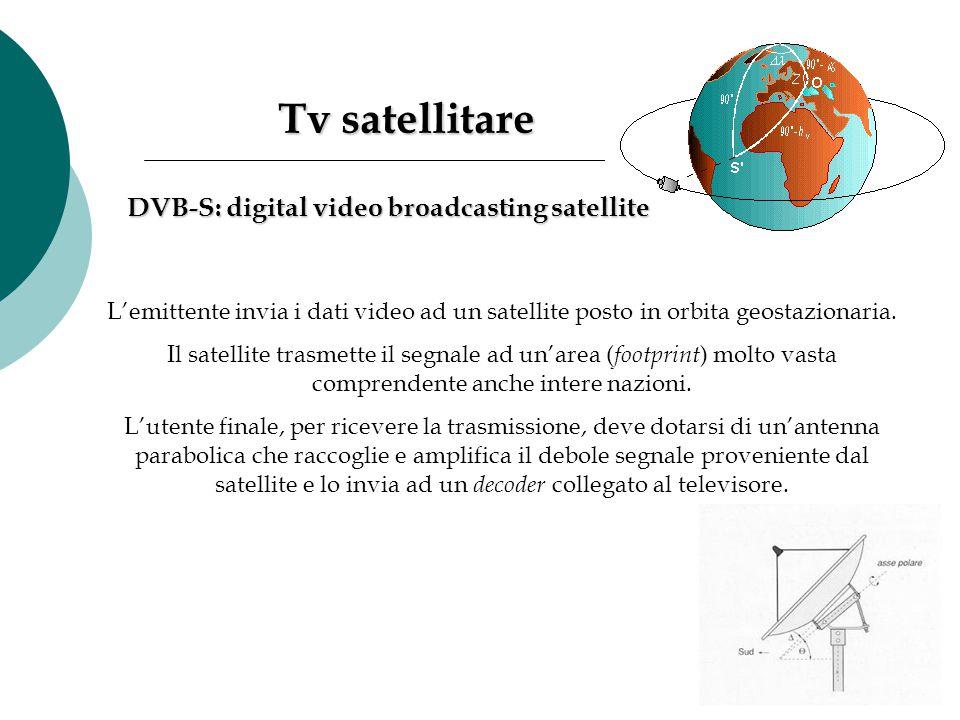Tv satellitare Tv satellitare L'emittente invia i dati video ad un satellite posto in orbita geostazionaria. Il satellite trasmette il segnale ad un'a