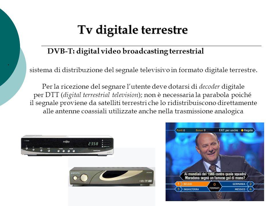 Tv digitale terrestre Tv digitale terrestre DVB-T: digital video broadcasting terrestrial sistema di distribuzione del segnale televisivo in formato d