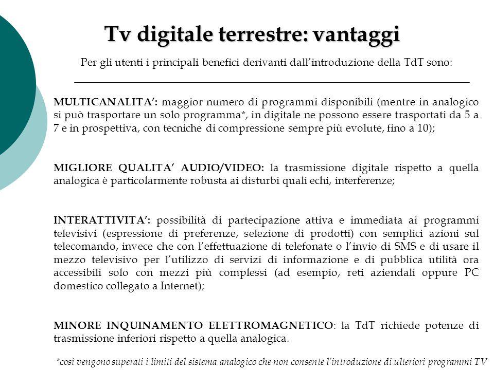 Per gli utenti i principali benefici derivanti dall'introduzione della TdT sono: MULTICANALITA': maggior numero di programmi disponibili (mentre in an