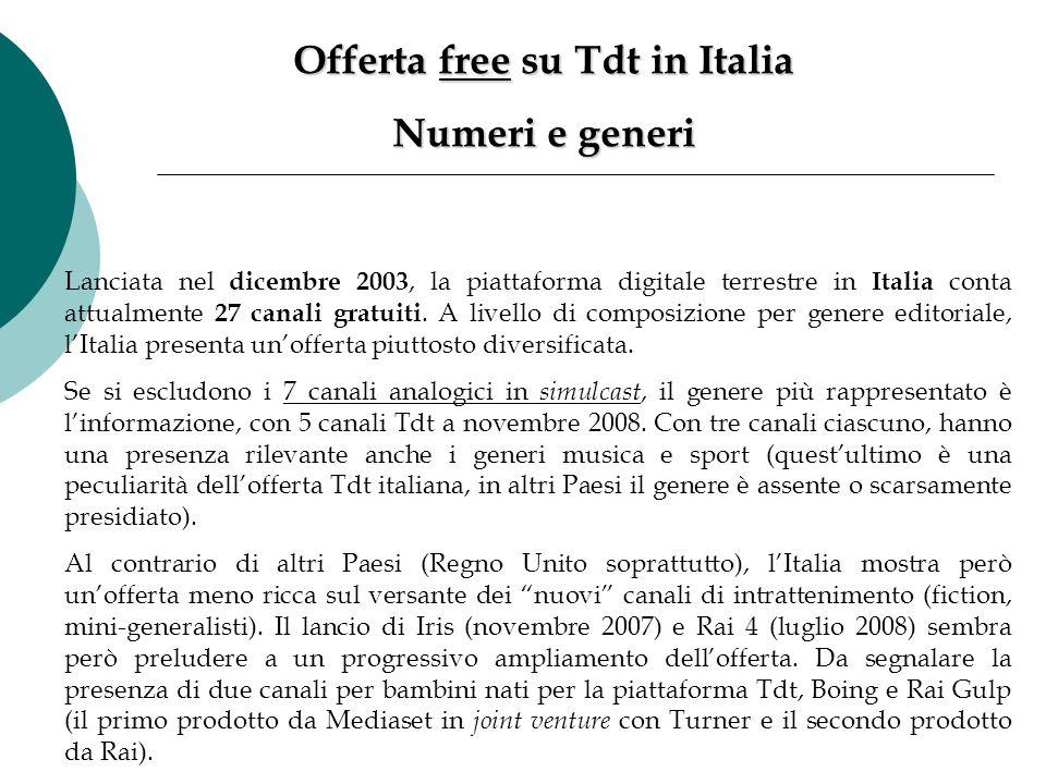 Lanciata nel dicembre 2003, la piattaforma digitale terrestre in Italia conta attualmente 27 canali gratuiti. A livello di composizione per genere edi