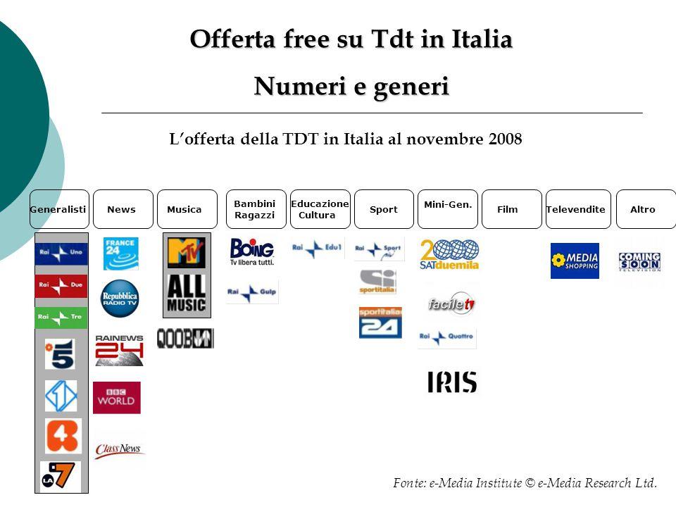 Offerta free su Tdt in Italia Numeri e generi L'offerta della TDT in Italia al novembre 2008 GeneralistiNewsMusica Bambini Ragazzi Educazione Cultura