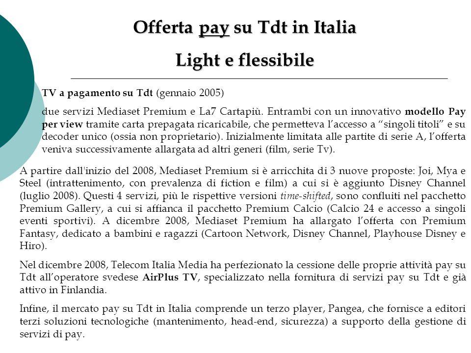TV a pagamento su Tdt (gennaio 2005) due servizi Mediaset Premium e La7 Cartapiù. Entrambi con un innovativo modello Pay per view tramite carta prepag