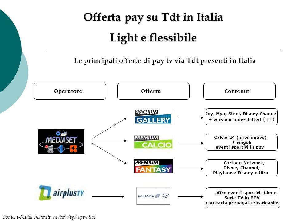 Offerta pay su Tdt in Italia Light e flessibile Le principali offerte di pay tv via Tdt presenti in Italia OperatoreOffertaContenuti Joy, Mya, Steel,