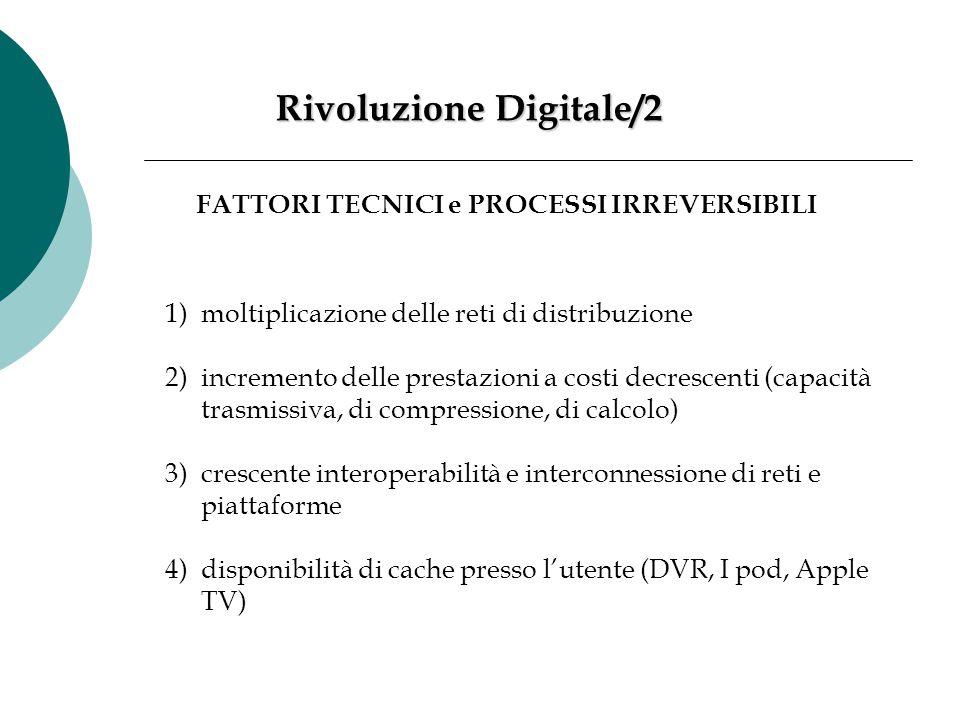 Rivoluzione Digitale/2 FATTORI TECNICI e PROCESSI IRREVERSIBILI 1)moltiplicazione delle reti di distribuzione 2)incremento delle prestazioni a costi d