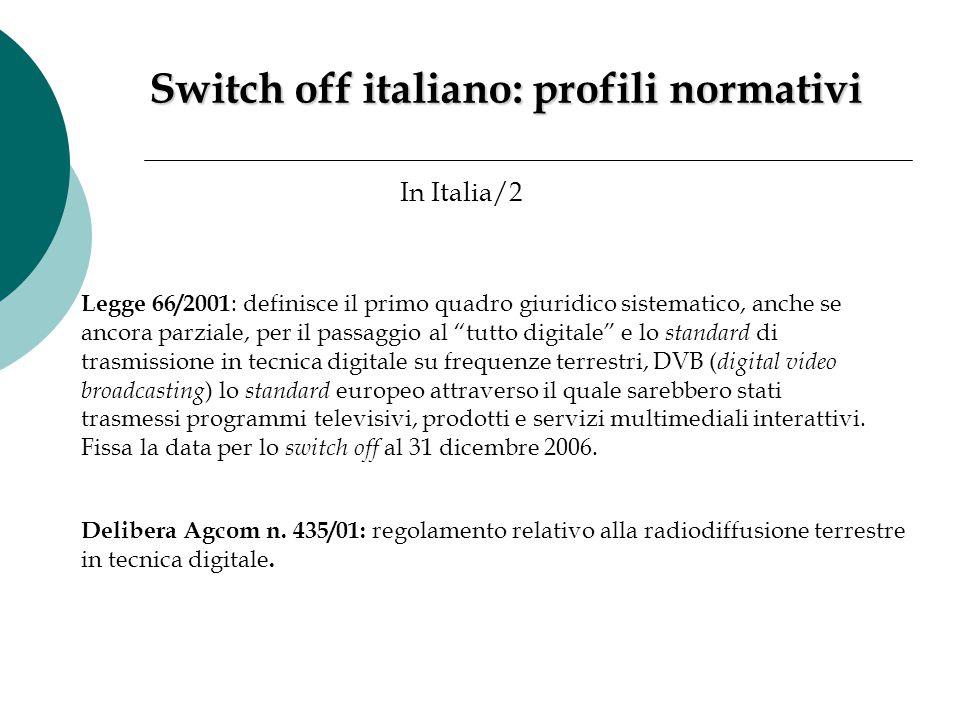 Switch off italiano: profili normativi In Italia/2 Legge 66/2001 : definisce il primo quadro giuridico sistematico, anche se ancora parziale, per il p