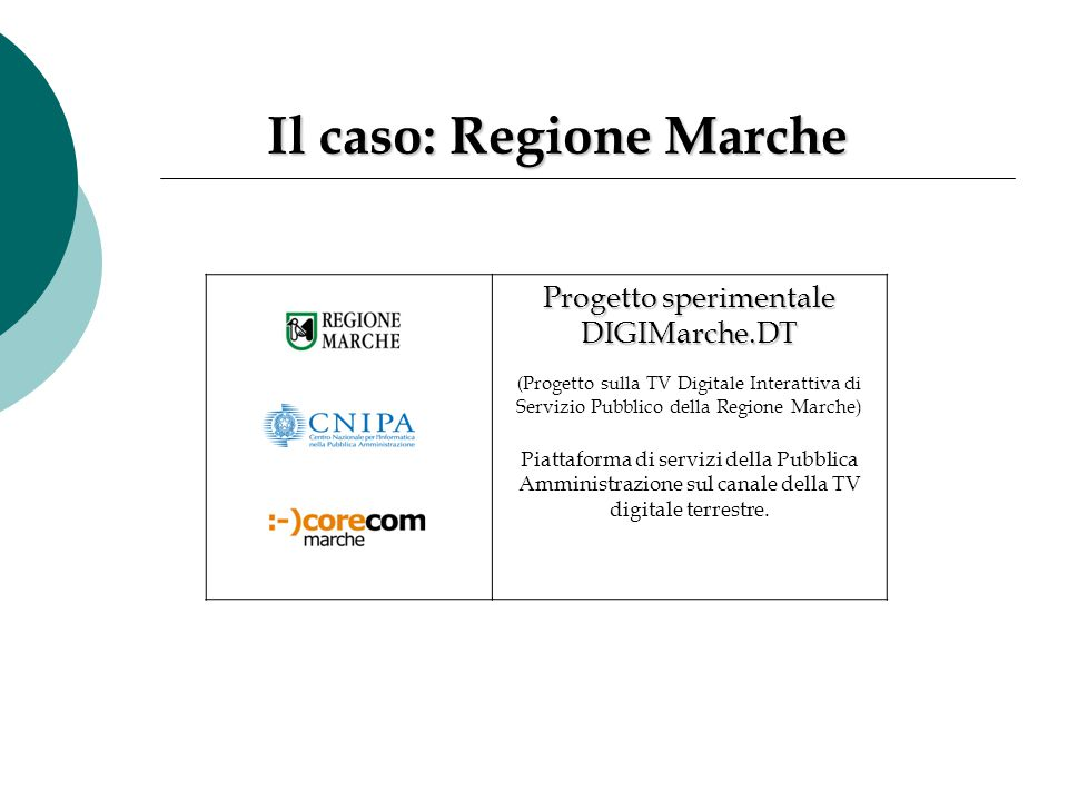 Il caso: Regione Marche Progetto sperimentale DIGIMarche.DT ( Progetto sulla TV Digitale Interattiva di Servizio Pubblico della Regione Marche) Piatta