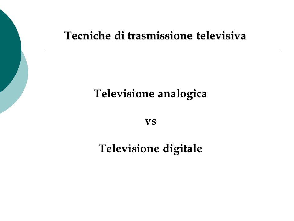 Televisione analogica vs Televisione digitale Tecniche di trasmissione televisiva
