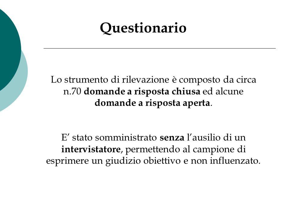 Questionario Lo strumento di rilevazione è composto da circa n.70 domande a risposta chiusa ed alcune domande a risposta aperta. E' stato somministrat