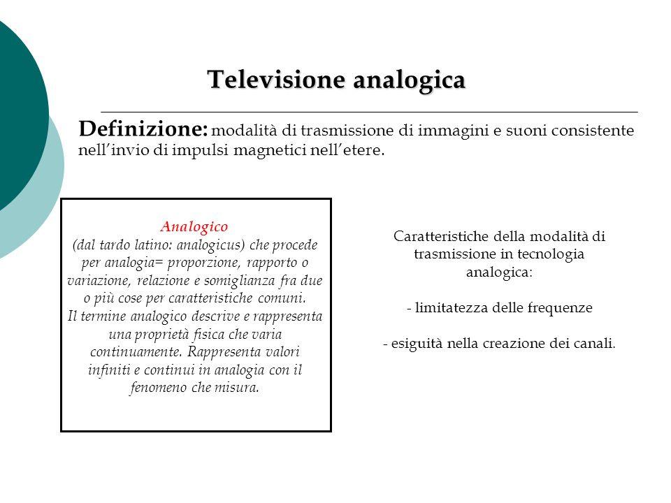 Televisione analogica Definizione: modalità di trasmissione di immagini e suoni consistente nell'invio di impulsi magnetici nell'etere. Analogico (dal
