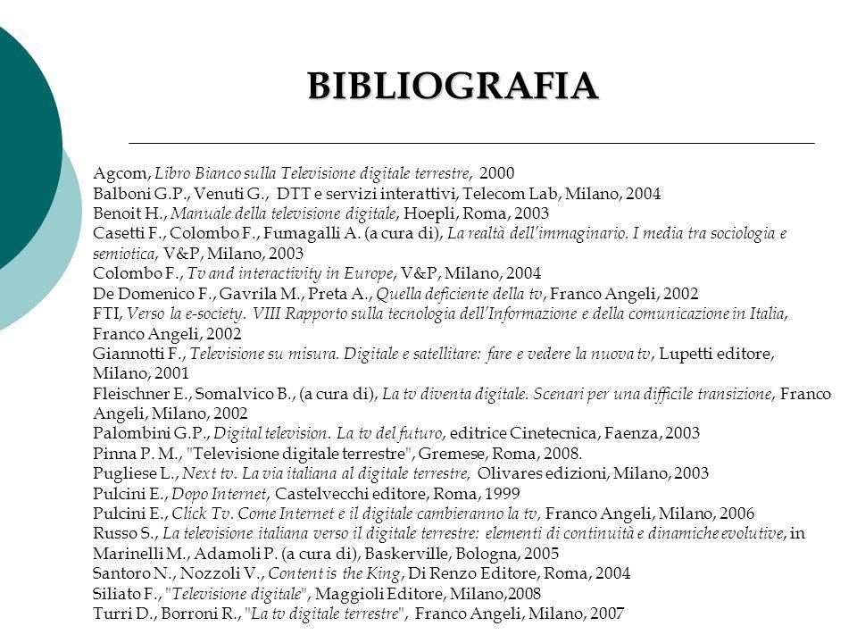 BIBLIOGRAFIA Agcom, Libro Bianco sulla Televisione digitale terrestre, 2000 Balboni G.P., Venuti G., DTT e servizi interattivi, Telecom Lab, Milano, 2