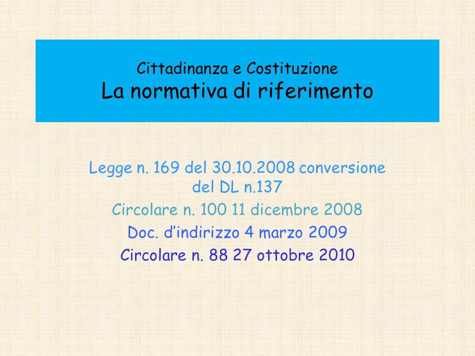 Cittadinanza e Costituzione La normativa di riferimento Legge n. 169 del 30.10.2008 conversione del DL n.137 Circolare n. 100 11 dicembre 2008 Doc. d'
