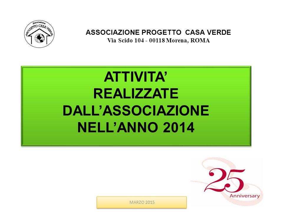 ASSOCIAZIONE PROGETTO CASA VERDE Via Scido 104 - 00118 Morena, ROMA ATTIVITA' REALIZZATE DALL'ASSOCIAZIONE NELL'ANNO 2014 ATTIVITA' REALIZZATE DALL'AS