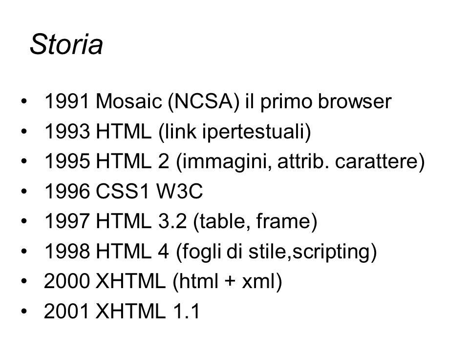 Attori - costumi - scenografia HTML CSS XML: DTD XLS Applet, oggetti activex, javascript, flash presentazione struttura contenuto