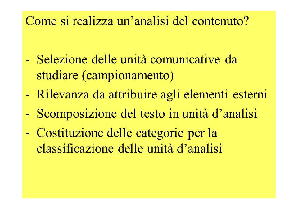 -unità d'analisi - unità di campionamento : es.