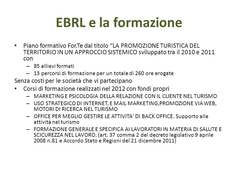 """EBRL e la formazione Piano formativo For.Te dal titolo """"LA PROMOZIONE TURISTICA DEL TERRITORIO IN UN APPROCCIO SISTEMICO sviluppato tra il 2010 e 2011"""
