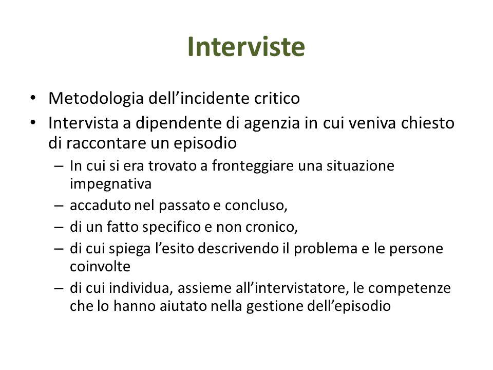 Interviste Metodologia dell'incidente critico Intervista a dipendente di agenzia in cui veniva chiesto di raccontare un episodio – In cui si era trova