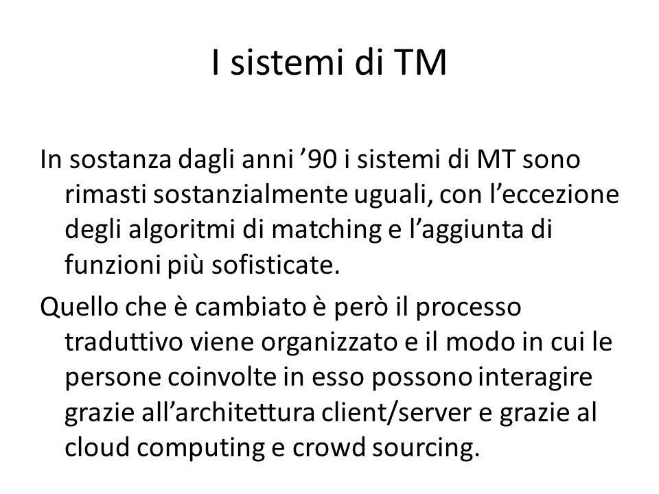 In sostanza dagli anni '90 i sistemi di MT sono rimasti sostanzialmente uguali, con l'eccezione degli algoritmi di matching e l'aggiunta di funzioni p