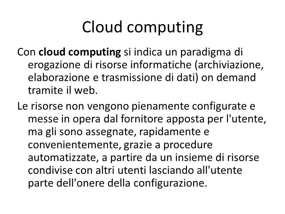 Cloud computing Con cloud computing si indica un paradigma di erogazione di risorse informatiche (archiviazione, elaborazione e trasmissione di dati) on demand tramite il web.