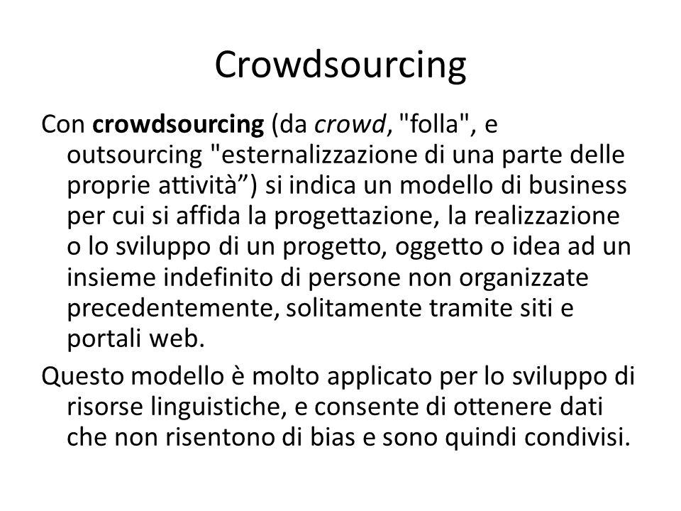 Crowdsourcing Con crowdsourcing (da crowd, folla , e outsourcing esternalizzazione di una parte delle proprie attività ) si indica un modello di business per cui si affida la progettazione, la realizzazione o lo sviluppo di un progetto, oggetto o idea ad un insieme indefinito di persone non organizzate precedentemente, solitamente tramite siti e portali web.