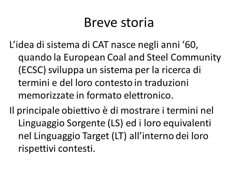 Breve storia L'idea di sistema di CAT nasce negli anni '60, quando la European Coal and Steel Community (ECSC) sviluppa un sistema per la ricerca di t