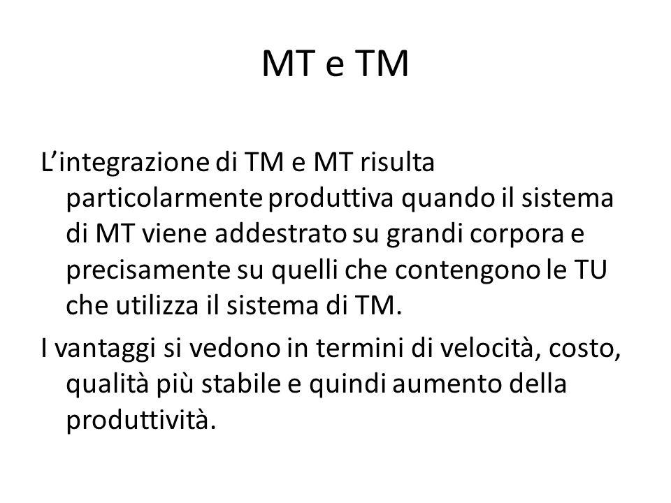 MT e TM L'integrazione di TM e MT risulta particolarmente produttiva quando il sistema di MT viene addestrato su grandi corpora e precisamente su quelli che contengono le TU che utilizza il sistema di TM.