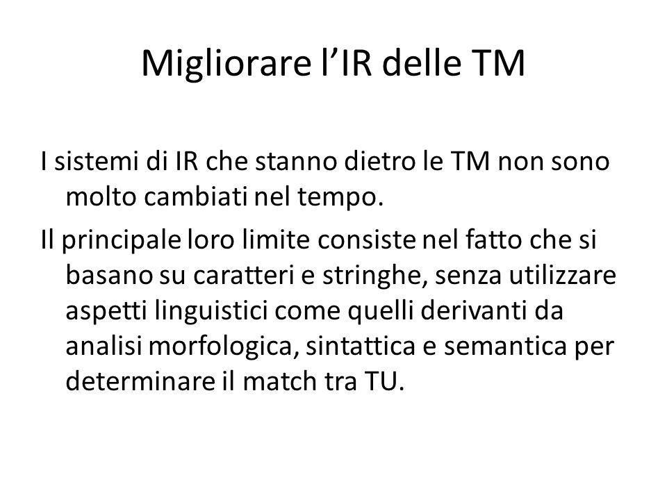Migliorare l'IR delle TM I sistemi di IR che stanno dietro le TM non sono molto cambiati nel tempo. Il principale loro limite consiste nel fatto che s