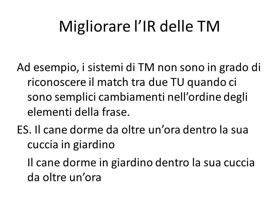 Migliorare l'IR delle TM Ad esempio, i sistemi di TM non sono in grado di riconoscere il match tra due TU quando ci sono semplici cambiamenti nell'ordine degli elementi della frase.