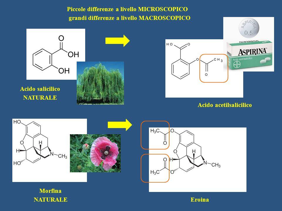 Acido salicilico NATURALE Acido acetilsalicilico Morfina NATURALE Eroina Piccole differenze a livello MICROSCOPICO grandi differenze a livello MACROSC