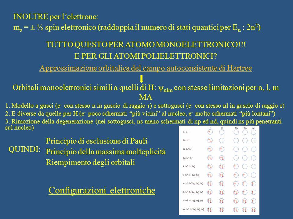 INOLTRE per l'elettrone: m s = ± ½ spin elettronico (raddoppia il numero di stati quantici per E n : 2n 2 ) Principio di esclusione di Pauli Principio