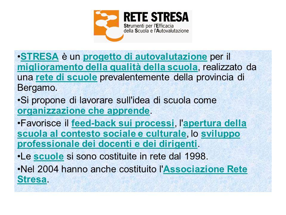 STRESA è un progetto di autovalutazione per il miglioramento della qualità della scuola, realizzato da una rete di scuole prevalentemente della provincia di Bergamo.STRESAprogetto di autovalutazione miglioramento della qualità della scuolarete di scuole Si propone di lavorare sull idea di scuola come organizzazione che apprende.