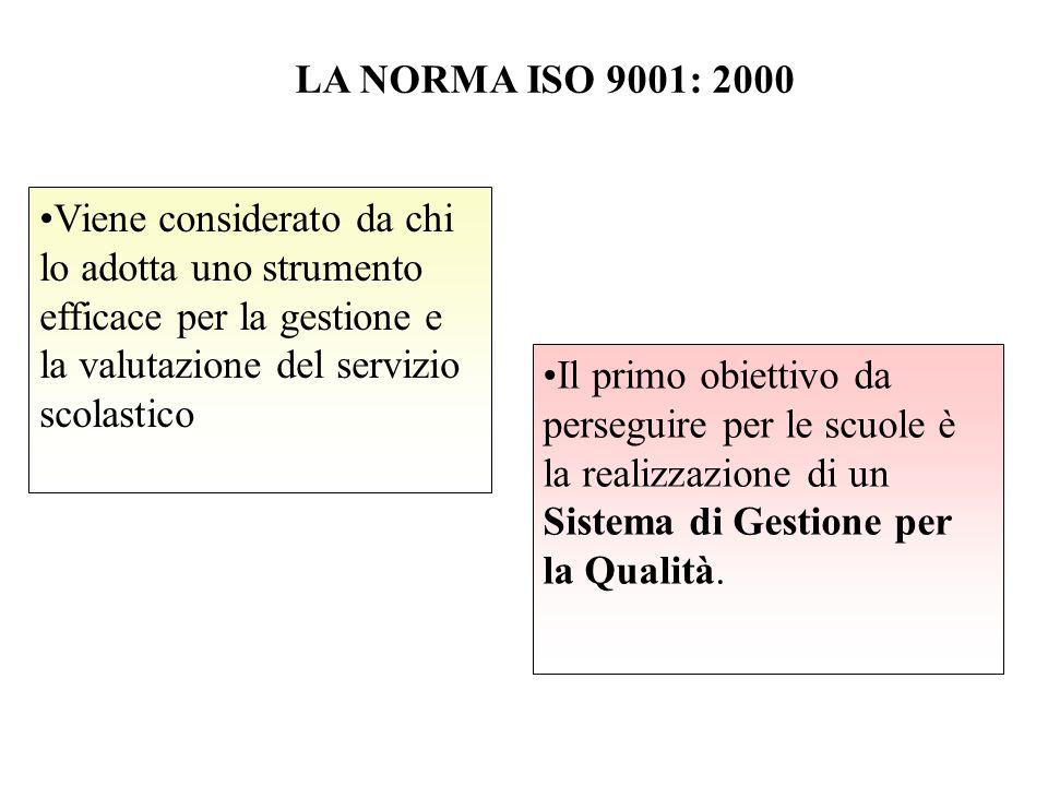 LA NORMA ISO 9001: 2000 Viene considerato da chi lo adotta uno strumento efficace per la gestione e la valutazione del servizio scolastico Il primo obiettivo da perseguire per le scuole è la realizzazione di un Sistema di Gestione per la Qualità.