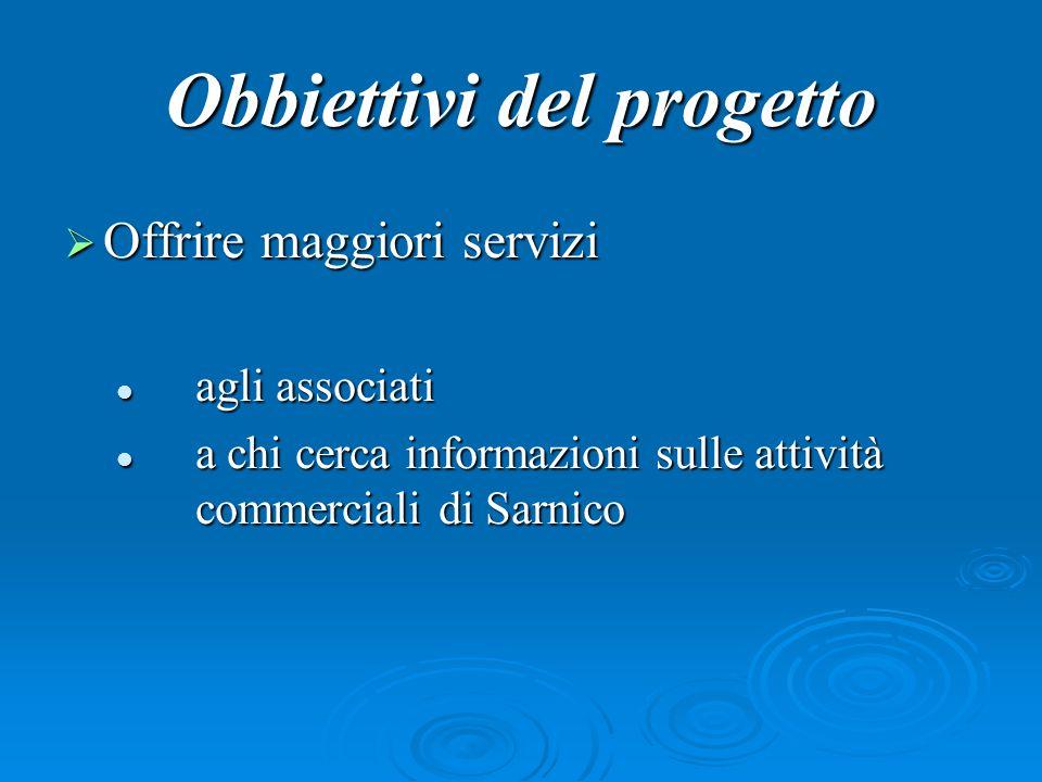 Obbiettivi del progetto OOOOffrire maggiori servizi a agli associati chi cerca informazioni sulle attività commerciali di Sarnico