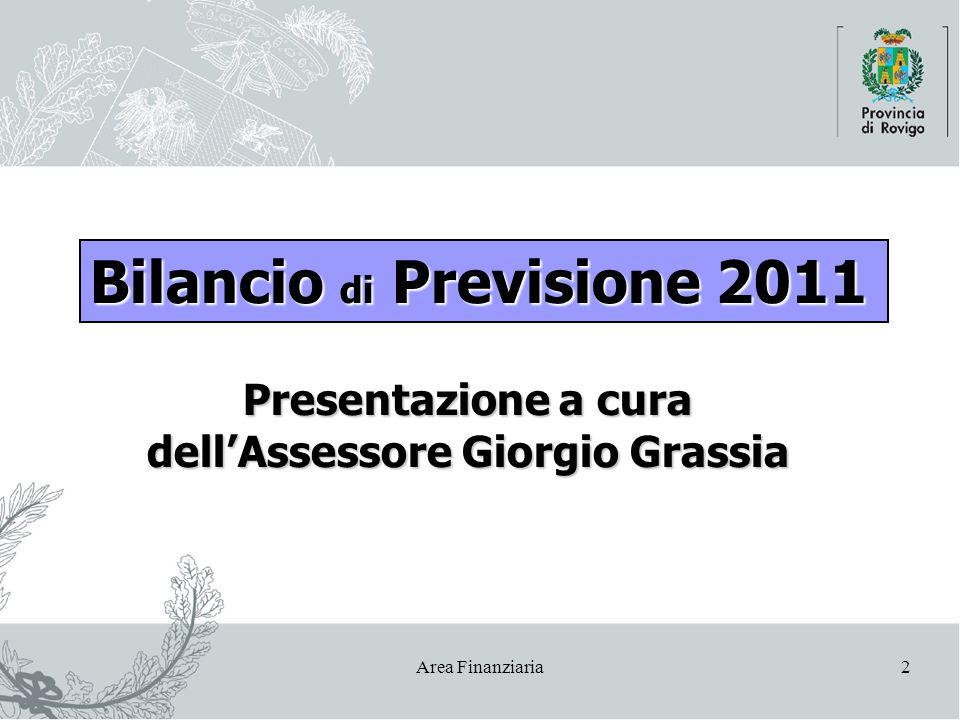 Area Finanziaria2 Presentazione a cura dell'Assessore Giorgio Grassia Bilancio di Previsione 2011