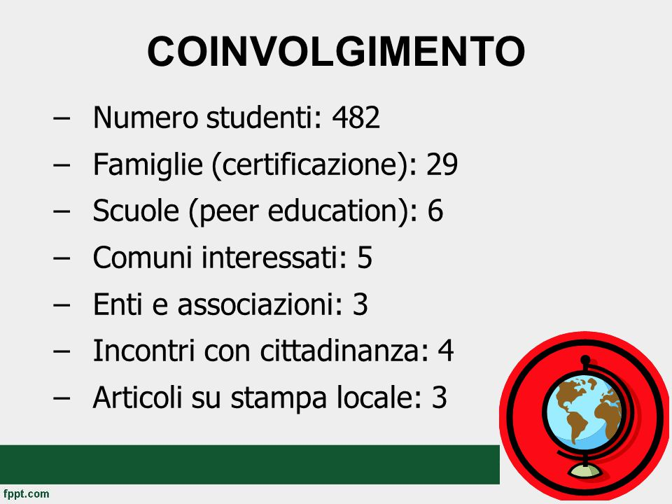 COINVOLGIMENTO –Numero studenti: 482 –Famiglie (certificazione): 29 –Scuole (peer education): 6 –Comuni interessati: 5 –Enti e associazioni: 3 –Incontri con cittadinanza: 4 –Articoli su stampa locale: 3