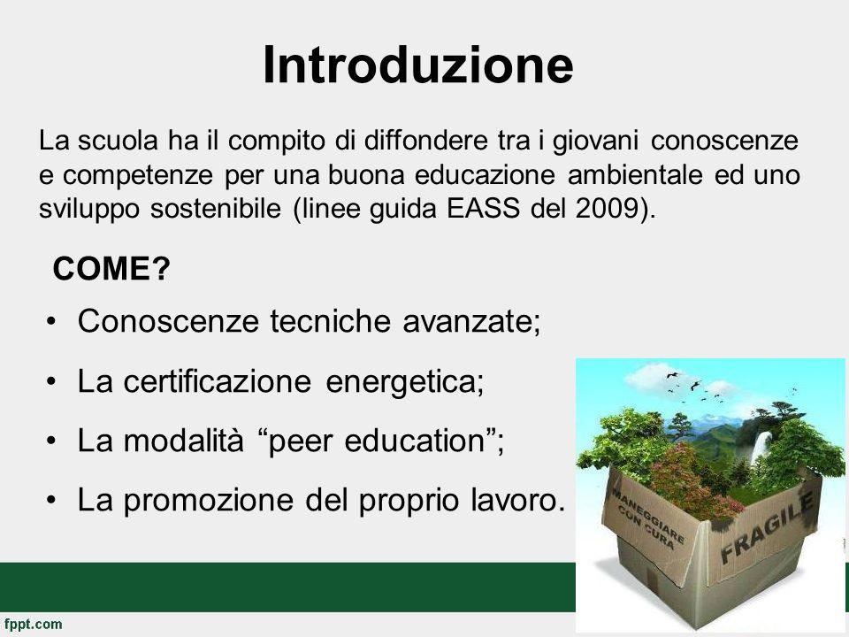Introduzione Conoscenze tecniche avanzate; La certificazione energetica; La modalità peer education ; La promozione del proprio lavoro.