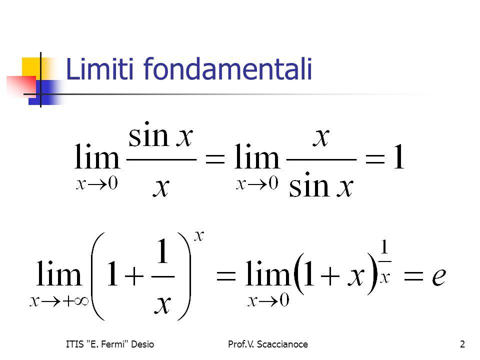 Limiti fondamentali Prof.V. Scaccianoce2ITIS E. Fermi Desio
