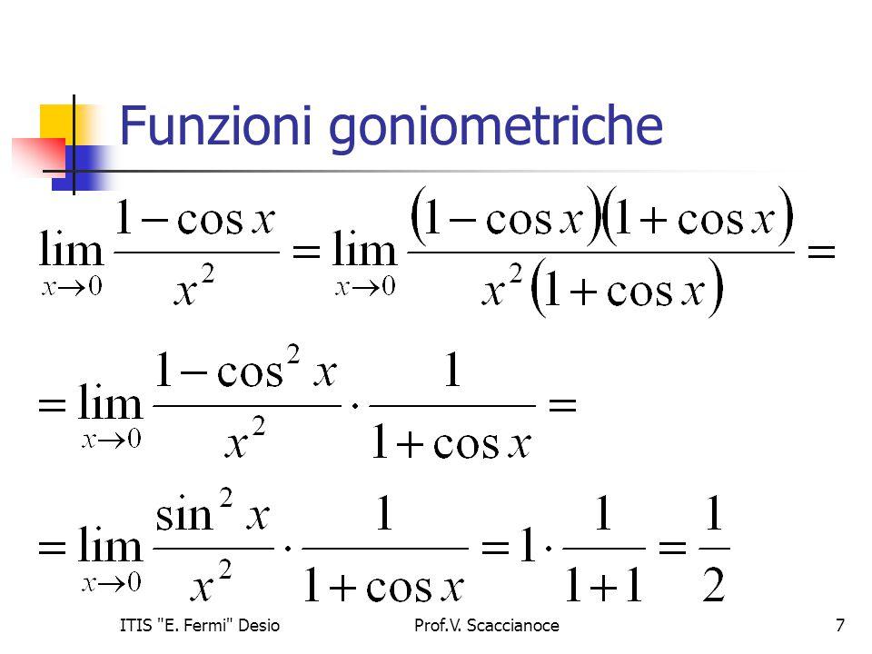 Funzioni goniometriche Prof.V. Scaccianoce7ITIS E. Fermi Desio