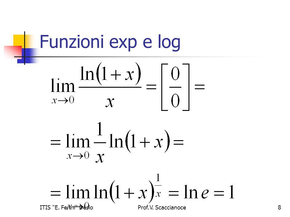 Funzioni exp e log Prof.V. Scaccianoce9ITIS E. Fermi Desio