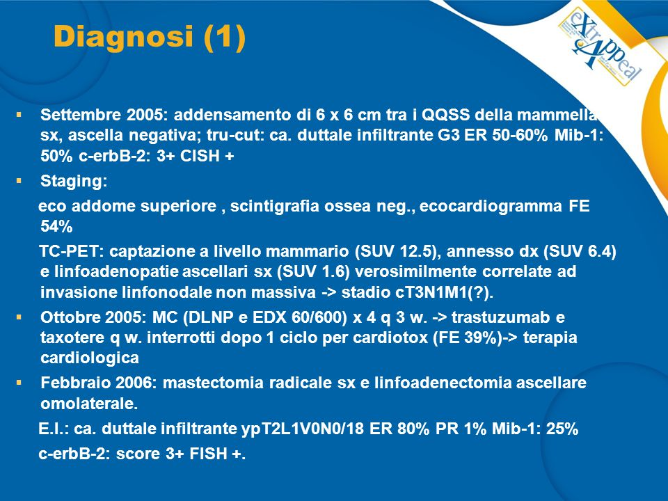 Diagnosi (1)  Settembre 2005: addensamento di 6 x 6 cm tra i QQSS della mammella sx, ascella negativa; tru-cut: ca. duttale infiltrante G3 ER 50-60%