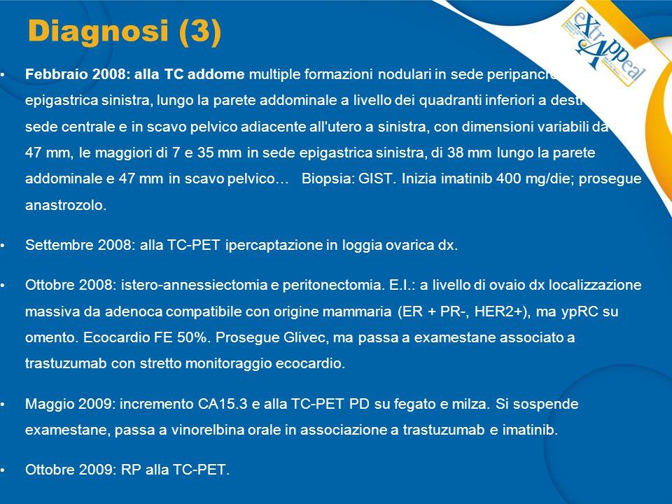 Diagnosi (3) Febbraio 2008: alla TC addome multiple formazioni nodulari in sede peripancreatica, epigastrica sinistra, lungo la parete addominale a li