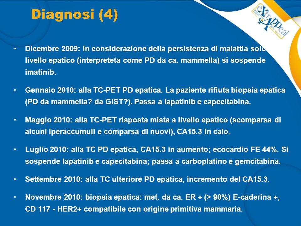 Diagnosi (4) Dicembre 2009: in considerazione della persistenza di malattia solo a livello epatico (interpreteta come PD da ca. mammella) si sospende