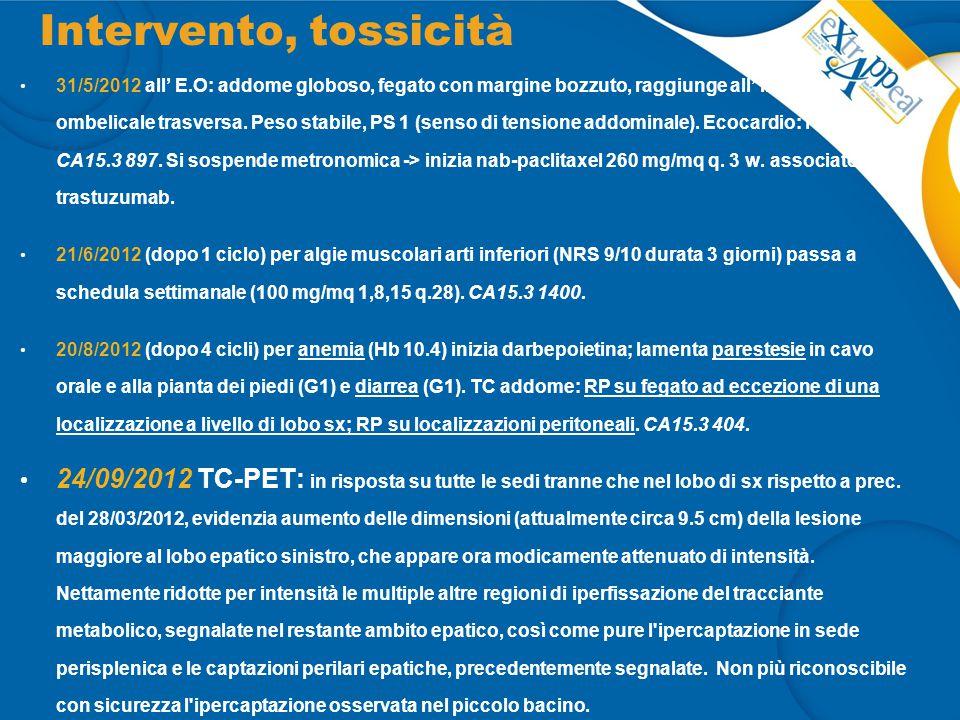 Intervento, tossicità 31/5/2012 all' E.O: addome globoso, fegato con margine bozzuto, raggiunge all' inspirio l' ombelicale trasversa. Peso stabile, P