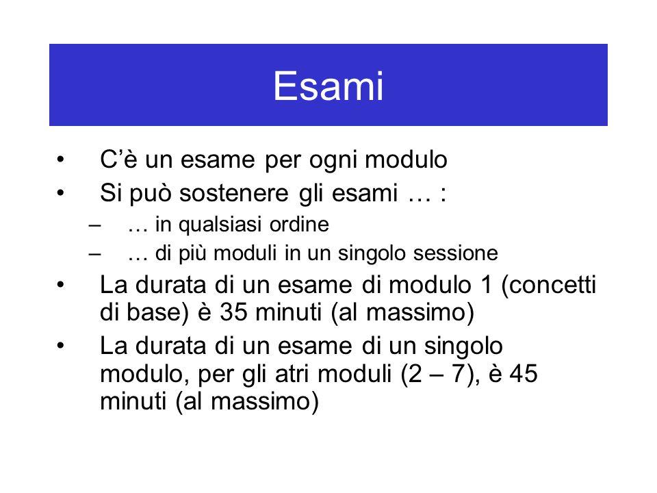 Esami C'è un esame per ogni modulo Si può sostenere gli esami … : –… in qualsiasi ordine –… di più moduli in un singolo sessione La durata di un esame di modulo 1 (concetti di base) è 35 minuti (al massimo) La durata di un esame di un singolo modulo, per gli atri moduli (2 – 7), è 45 minuti (al massimo)