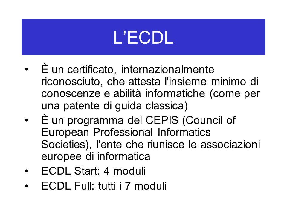 L'ECDL È un certificato, internazionalmente riconosciuto, che attesta l insieme minimo di conoscenze e abilità informatiche (come per una patente di guida classica) È un programma del CEPIS (Council of European Professional Informatics Societies), l ente che riunisce le associazioni europee di informatica ECDL Start: 4 moduli ECDL Full: tutti i 7 moduli