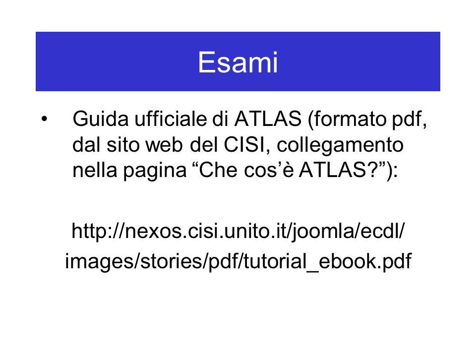 Esami Guida ufficiale di ATLAS (formato pdf, dal sito web del CISI, collegamento nella pagina Che cos'è ATLAS ): http://nexos.cisi.unito.it/joomla/ecdl/ images/stories/pdf/tutorial_ebook.pdf