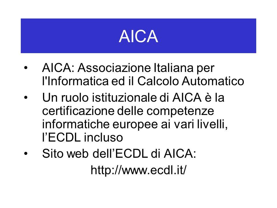 AICA AICA: Associazione Italiana per l Informatica ed il Calcolo Automatico Un ruolo istituzionale di AICA è la certificazione delle competenze informatiche europee ai vari livelli, l'ECDL incluso Sito web dell'ECDL di AICA: http://www.ecdl.it/